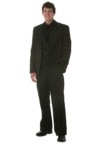 All Black Tuxedo Red Tie